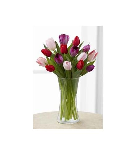 Photo of flowers: Tender Tulips in Vase Bouquet FTD
