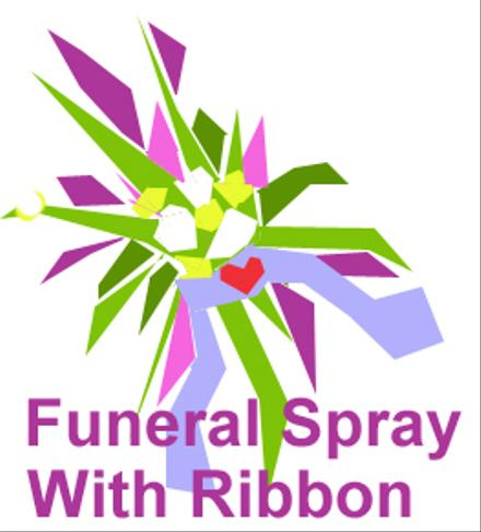 Photo of flowers: Funeral Spray Arrangement with Ribbon