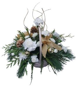 Photo of flowers: White Holiday Basket 0095
