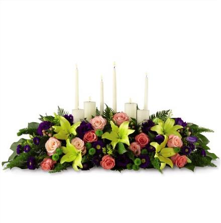 Photo of flowers: Large Oblong Candle Centerpiece