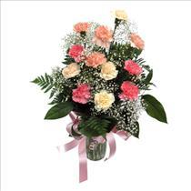 Photo of Vased Carnations and Babies Breath - COLOR Choice  - BF9024