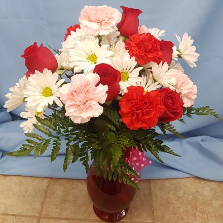 Photo of flowers: Red, Pink, and White