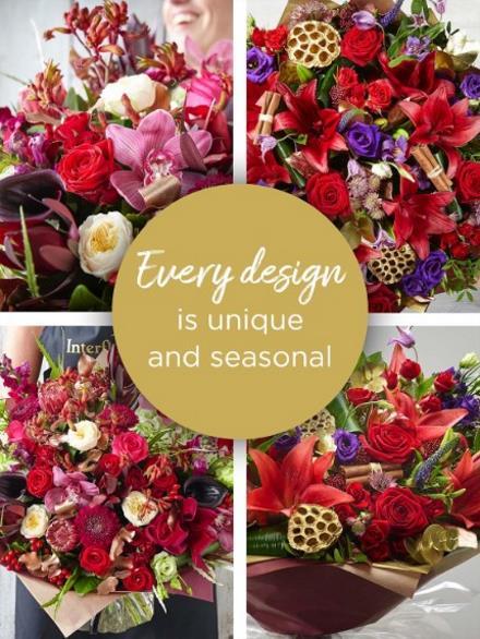 Photo of flowers: Christmas Florist's  choice hand-tied