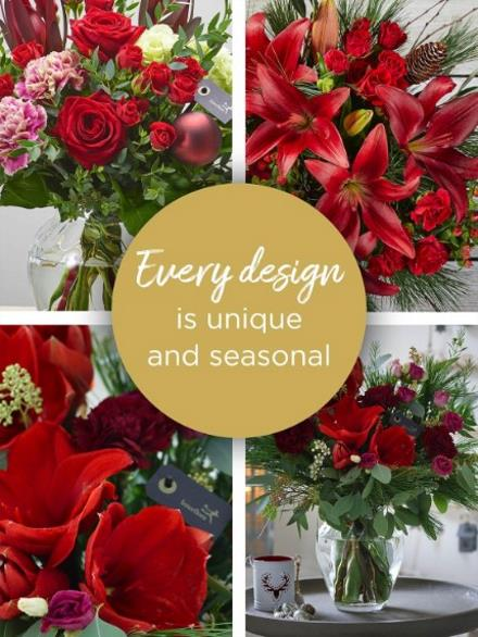 Photo of flowers: Christmas Florist's Choice Vase Arrangement