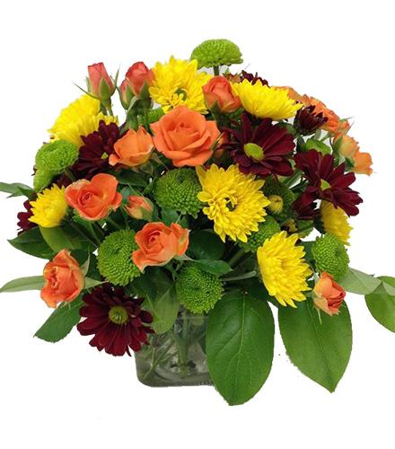 Photo of flowers: Yellow Mums and Orange Roses in Cube Vase
