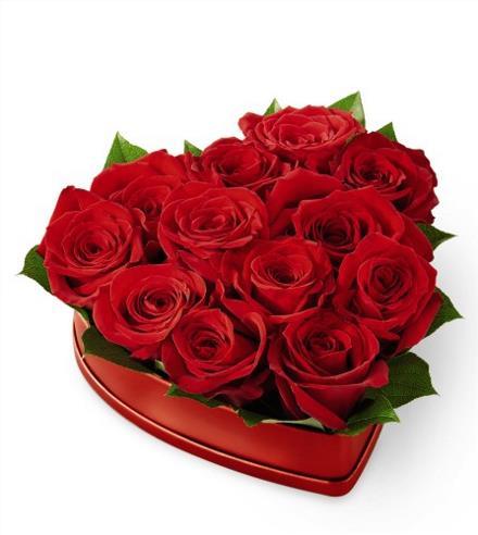 Photo of flowers: Heart Box of Roses set in florist foam / water