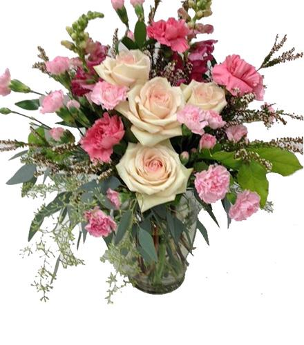 Photo of flowers: Roses & Mini Carnations in Vase