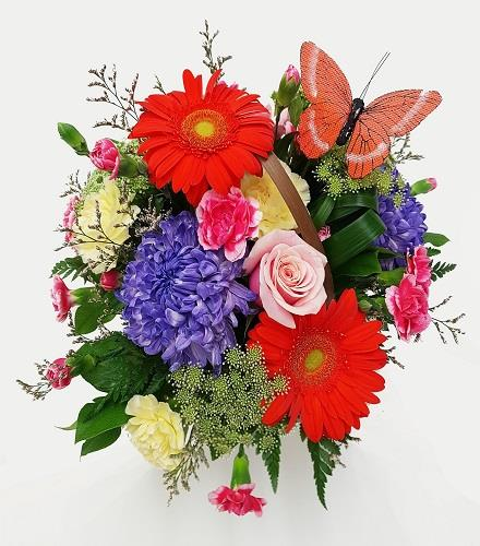 Photo of flowers: Gerbera centerpiece with butterfly