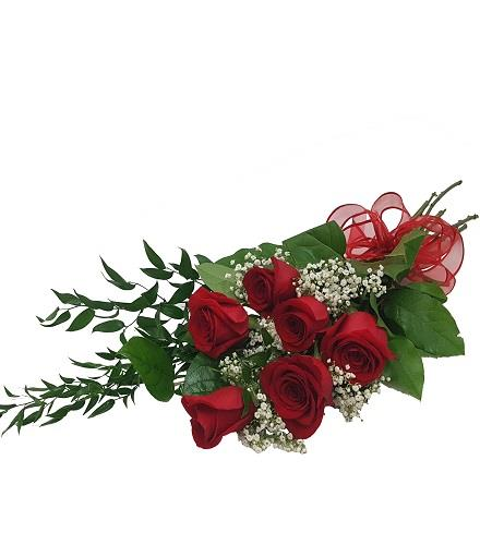 Photo of flowers: 6 Roses, Greens, Babies Breath, Gift Wrapped