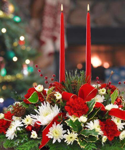 Photo of flowers: Holiday Centerpiece Twin Taper Candle