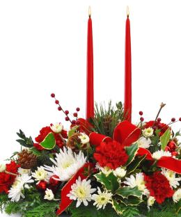 Photo of Holiday Centerpiece Twin Taper Candle - C126