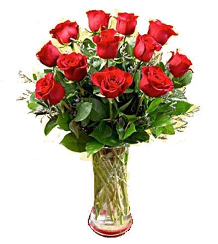 Photo of flowers: Long Stemmed Roses Vased. 12, 18, 24, or 36