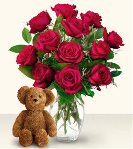 Photo of flowers: 12, 18 or 24  Roses - Vased with Teddy Bear