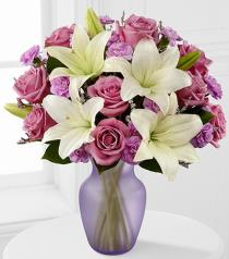 Photo of Lavender Twilight Roses and Lilies in Vase  - FK449