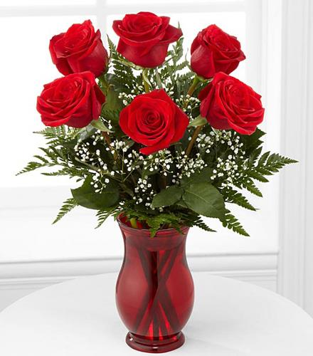Photo of flowers: Classic Romance 6 Roses in Vase