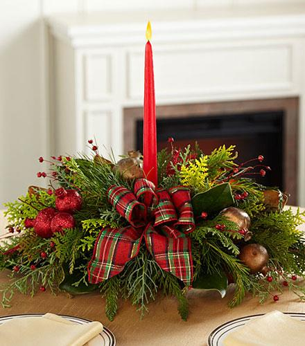 Photo of flowers: Christmas Callings Holiday Greenery with Candle