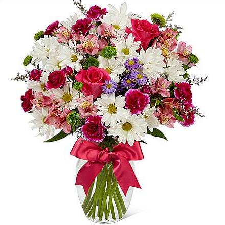 Photo of flowers: Full Blush Bouquet with Vase