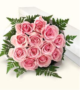Photo of flowers: 12 Pink Roses Gift Wrapped or Boxed