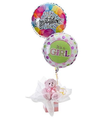 Photo of flowers: Balloons and Teddy Bear