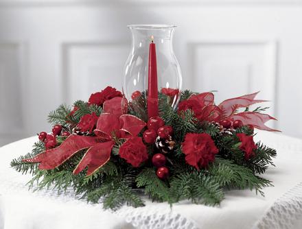 Photo of flowers: Crimson Glow Christmas Centerpiece