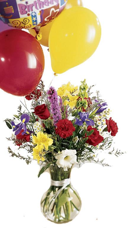 Photo of flowers: Colorburst Birthday Balloons and Flowers