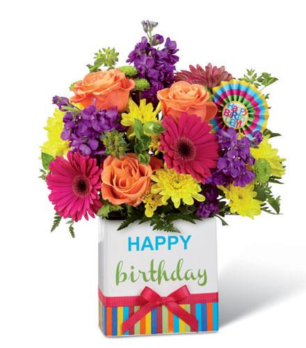 Photo of flowers: Birthday Brights Bouquet