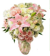 Photo of Pink Petals - White and Pink in Vase - FF93