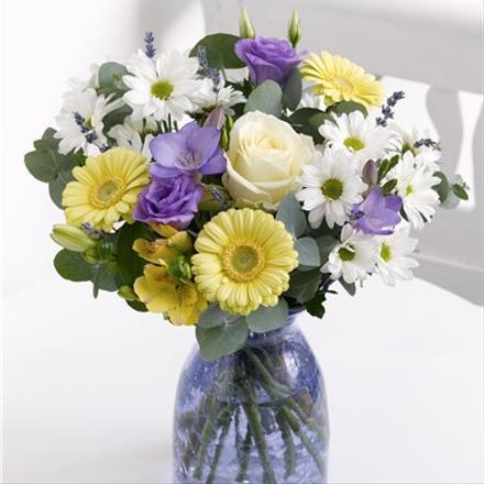 Photo of flowers: Blue and Lemon Vase Arrangement