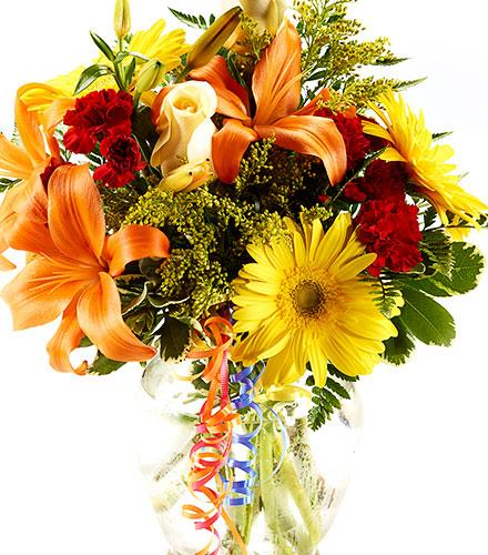 Photo of flowers: Fall Cut Bouquet Gift Wrapped No Vase