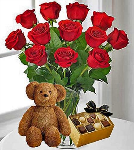 Photo of flowers: 12 Red Roses, Chocolates & Teddy Bear