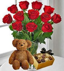 Photo of 12 Red Roses, Chocolates & Teddy Bear - 12RRCB