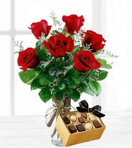 Photo of flowers: Six Roses with Chocolates
