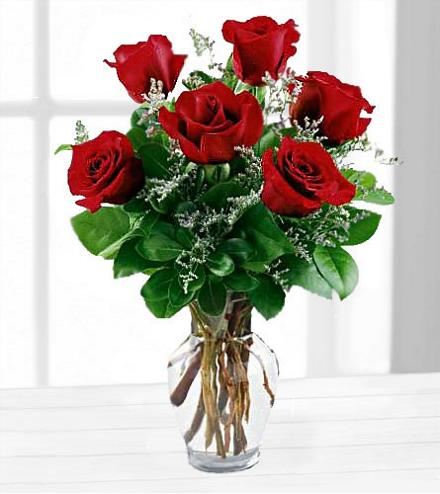 Photo of flowers: Six Red Roses in a Vase