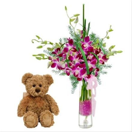 Photo of flowers: Orchids in Vase with Teddy  Bear
