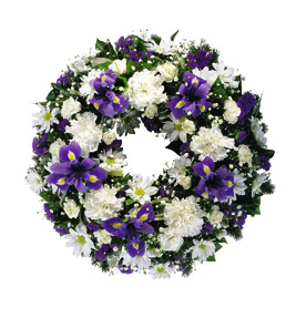 Photo of flowers: Blue and White Wreath Large