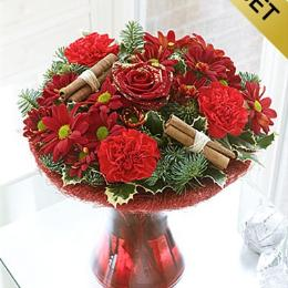 Photo of Christmas Perfect Flowers in Vase with chocolates - 500209