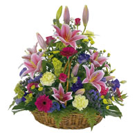 Photo of flowers: Large Basket of Bright Flowers