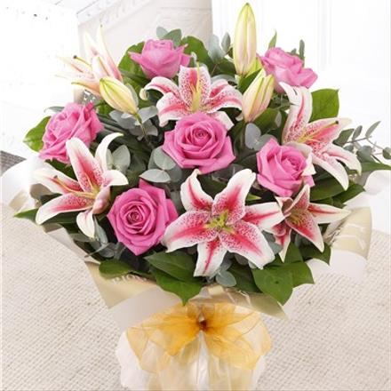 Photo of flowers: Pink Rose and Lily Hand Tied