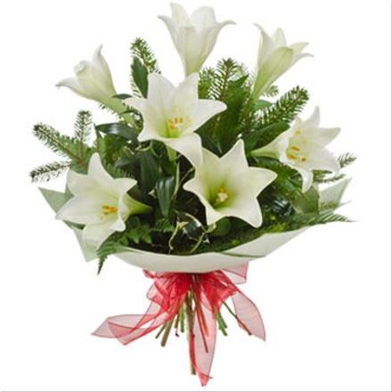 Photo of flowers: Bouquet of Lilies Gift Wraped No Vase