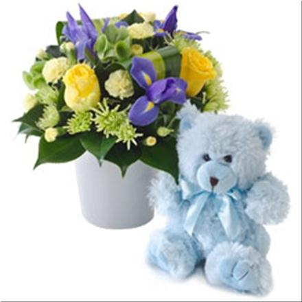 Photo of flowers: Flowers and Teddy Bear