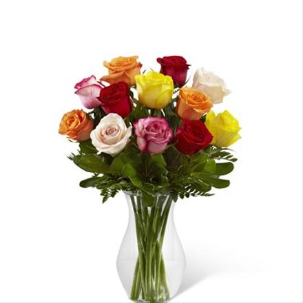 Photo of flowers: Enchanting Mixed Color Roses Vased