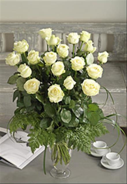 Photo of flowers: 24 White roses and greens