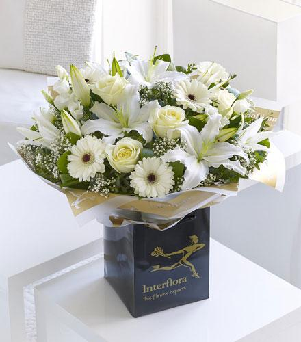 Photo of flowers: White Radiance Hand Tied