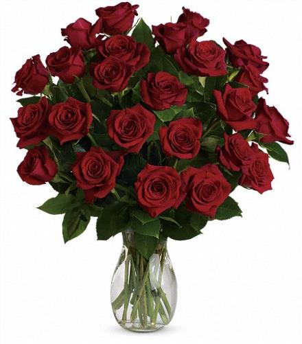 Photo of flowers: My True Love Vase with Long Stemmed Roses