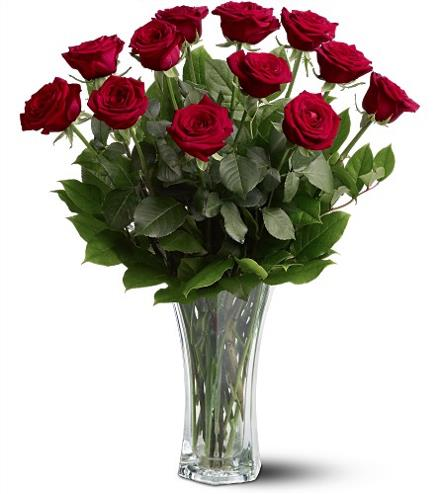 Photo of flowers: Dozen Roses Vased