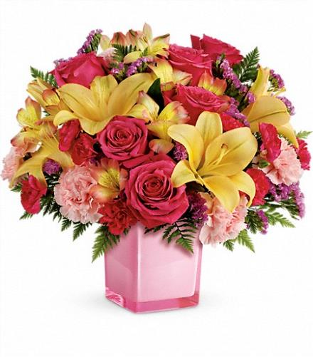 Photo of flowers: Pop Of Fun Bouquet with Roses