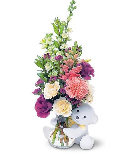 Photo of flowers: Teddy Bear and Flowers Vased