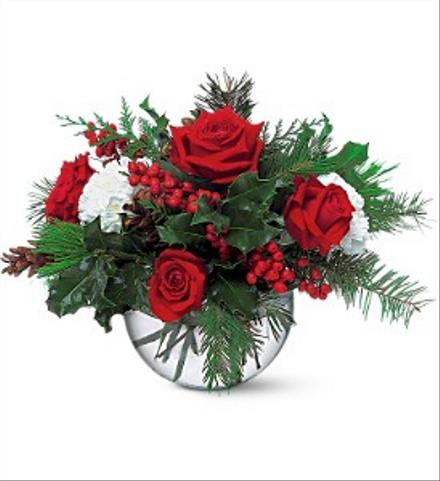 Photo of flowers: Christmas Bubble Bowl Roses Carnations