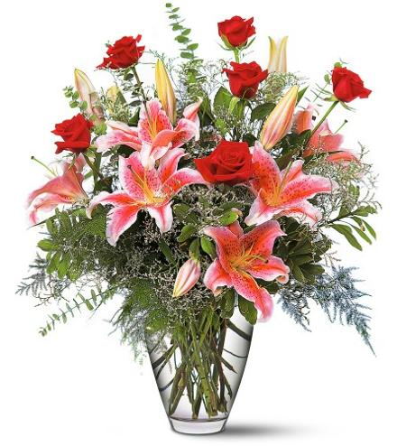 Photo of flowers: Red Roses and Stargazers