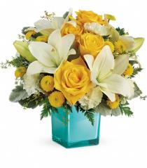 Photo of Golden Laughter Bouquet in Cube Vase  - TEV46-1